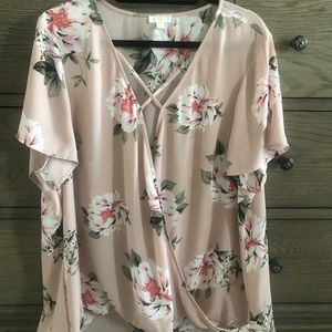 Charming Charlie 2X Floral Crossover Blouse